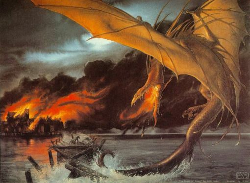 The Hobbit - John Howe - Death of Smaug